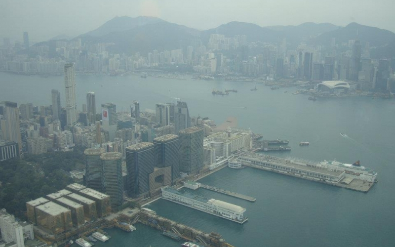 A picture I took from the 100th floor of the observatory deck of Sky100 tower that overlooks at the Victoria Harbor, HK