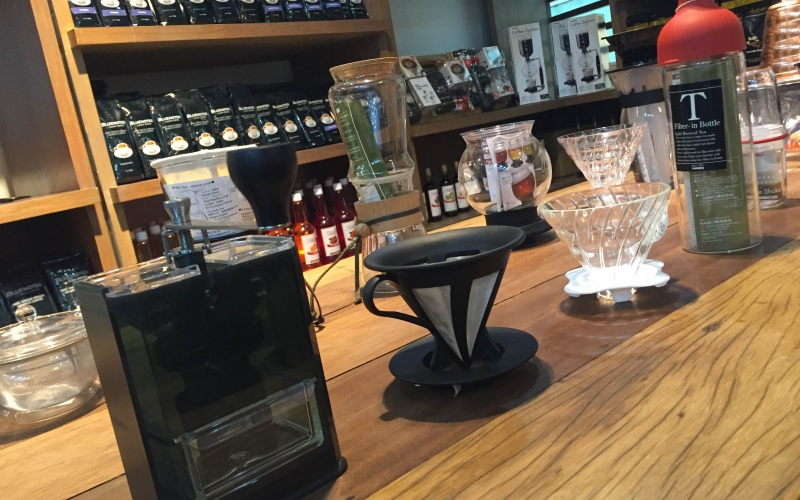 Conlins Coffee's display of different kind of coffee bean grinders.